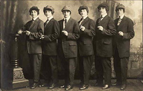 Group Of Six Women Dressed As Men In Suits And Ties Smoking