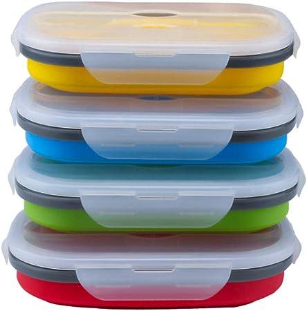 Pliant Four micro-ondes Bento Silicone Boîte Déjeuner Picnic Food Container