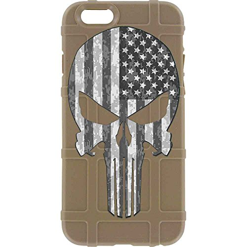 EGO Tactical Limited Edition Design UV-Printed onto a MAG849 Field Case Compatible with Apple iPhone 7 + Plus, 8 + Plus, 7+, 8+ FDE, Punisher B/W USA Flag ()