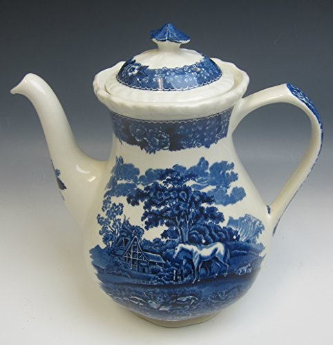 - Adams China ENGLISH SCENIC BLUE SCALLOPED Coffee Pot w/Lid EXCELLENT