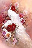DIY 5D Diamond Painting Embroidery Kit - Pure White Peacocks - Extra Large 70x130cm (28x51 in) - White