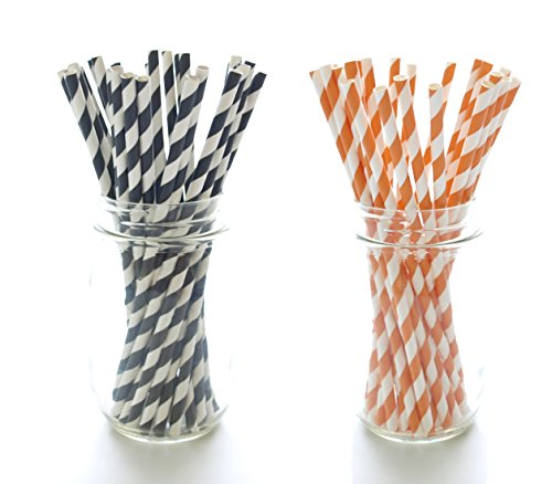 Halloween Party Straws, Black & Orange Paper Straws (50 Pack) - October Trick or Treat Party Supplies, Candy Stripe (Boys 50s Costume)