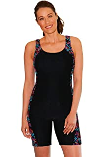 WaterPro Chlorine Resistant Floral Burst Splice Unitard One Piece Swimsuit  Size 10 Black 774c078a2
