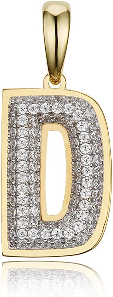 10k Yellow Gold Cubic Zirconia Iced Out Bubble Initial Pendant 0.75 Inches