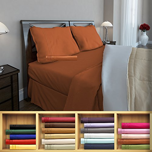 Queen Burnt Sienna Embroidered Pillowcase product image