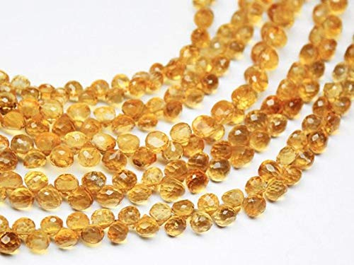 Beads Bazar Natural Beautiful jewellery Natural Gold Citrine Faceted Onion Drop Briolette Loose Gemstone Craft Beads Strand 8