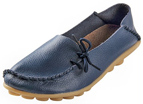 Serene Womens Dark Blue Leather Cowhide Casual Lace Up Flat Driving Shoes Boat Slip-On Loafers - Size 7.5