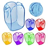 Rainbow Love 6pcs Foldable Pop Up Mesh Washing Laundry Basket Bag Bin Hamper Toy Tidy Storage