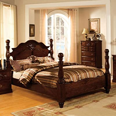 Tuscan Colonial Style Dark Pine Finish Bed Frame Set