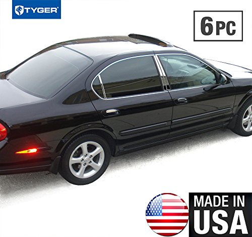 Made in USA! Works with 2000-2003 Nissan Maxima 6 PC Stainless Steel Chrome Pillar Post Trim