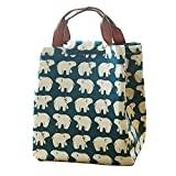 Mziart Cute Reusable Cotton Lunch Bag Insulated Lunch Tote Soft Bento Cooler Bag (Polar Bear)