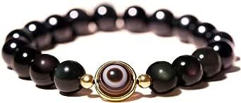 L&C Feng Shui Black Obsidian Wealth Bracelet - 8MM 10MM Women Mens Bracelets Natural Black Obsidian Crystal Evil Eye Agate Bring Luck Prosperity Elastic Stretch Beaded Bracelet for Woman Men