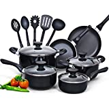 Cook N Home 15 Piece Non Stick Black Soft Handle Cookware Set,nc-00296