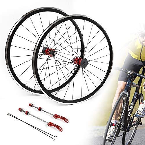 SHZICMY 700C Bicycle Wheel Set Front Rear Wheel Wheelset Rim Brake C/V for 7/8/9/10/11 Speed Wheelset (US Stock)