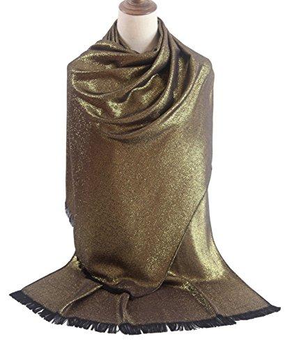 Gold Metallic Thread Scarf - MissShorthair Women's Metallic Soft Pashmina Shawl Wrap Scarf in Solid Colors (Large, Gold)
