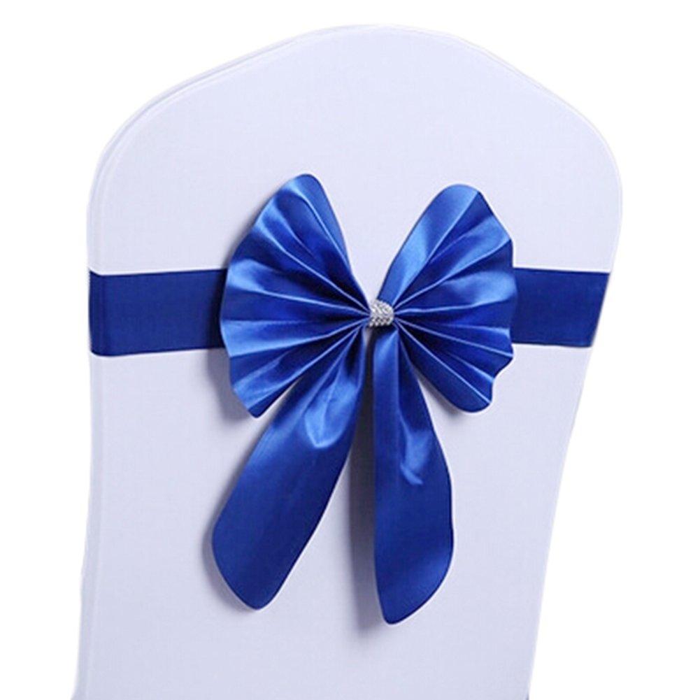 shzons ™ 10個/パックサテン椅子サッシ弓ウェディングダイニング用またはBanquet Decor LW259SapphireBlue|-ZO11 B014IXUH6Q 10PCs:SapphireBlue