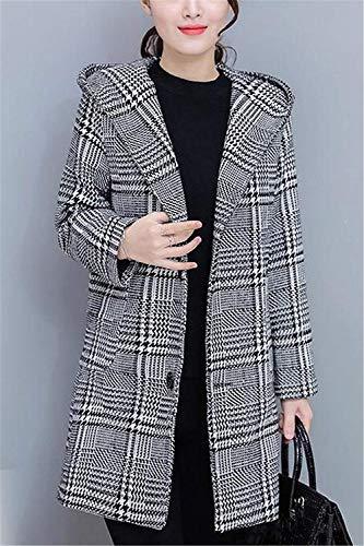 Cappotto Slim Classiche Cappotto Lana Lunghi Maniche Con Mantello Casuali Grau Transizione Fit Outerwear Fashion Con Tasche Costume Quadretti Giorno Di Lunghe Donna Elegante Cappuccio Udw8qxAXx