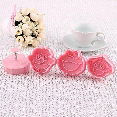 LU High Quality Plastic Material 4PCS/Set Bakeware Cookie Cutter 3D Sesame Street Mold(Random Color)