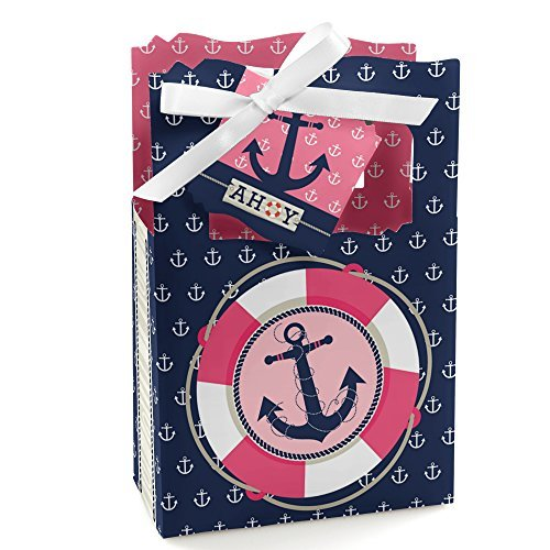 Ahoy - Nautical Girl - Party Favor Boxes - Set of 12