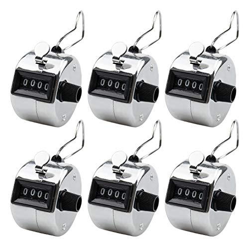 Foraineam 6 Pack Metal Hand Tally Counter Digital Lap Counter Clicker Handheld Mechanical Number Click Counters - Hand Tally Counter