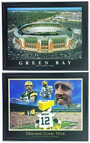 Football Green Bay Packers Framed Prints Lambeau Field Stadium Set of 2 LL5005 ()