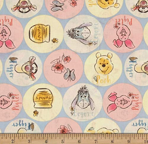1/2 Yard - Pooh Tigger Piglet & Eeyore Names Cotton Fabric - Officially Licensed (Great for Quilting, Sewing, Craft Projects, Throw Blankets & More) 1/2 Yard X 44