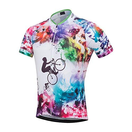 Men's Short Sleeve Cycling Jersey Full Zip Moisture Wicking Breathable Running Top Bike Shirt (XL, 1)