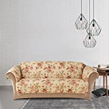 MN 1 Piece White Red Floral Theme Sofa Protector, Geometric Flower Pattern Couch Protection Flowers Roses Leaves Furniture Protection Cover Pets Animals Covers Nature Reversible, Polyester