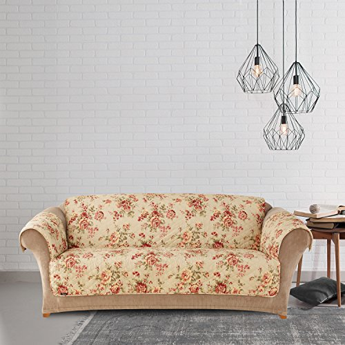 MN 1 Piece White Red Floral Theme Sofa Protector, Geometric Flower Pattern Couch Protection Flowers Roses Leaves Furniture Protection Cover Pets Animals Covers Nature Reversible, Polyester by MN