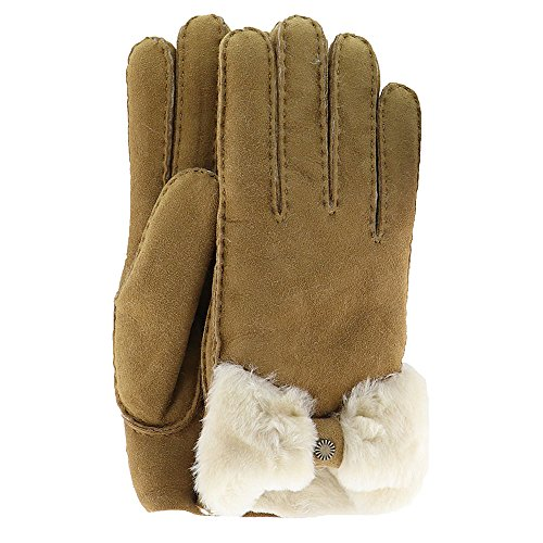 UGG Women's Bow Waterproof Sheepskin Gloves Chestnut MD by UGG