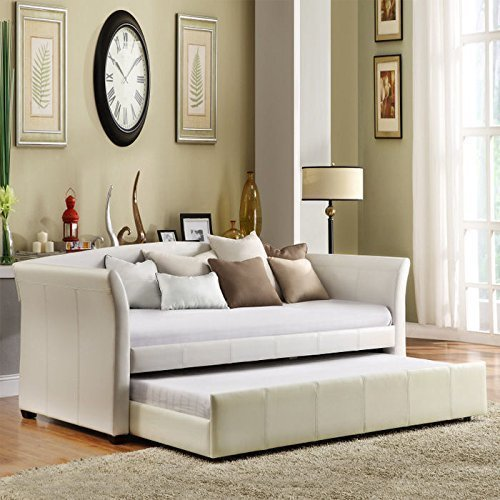 Creek Slat Bed - Home Creek Idealbed Milan Luxury Upholstered Leatherette Modern Daybed with Roll-Out Trundle, White