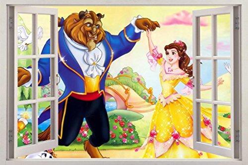 Beauty And The Beast 3D Window Decal Wall Sticker Art Mural Disney Princess H643, Regular