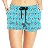 Aqua Starfish Women Novelty Elastic Waist Shorts Breathable Lightweight Beach Shorts