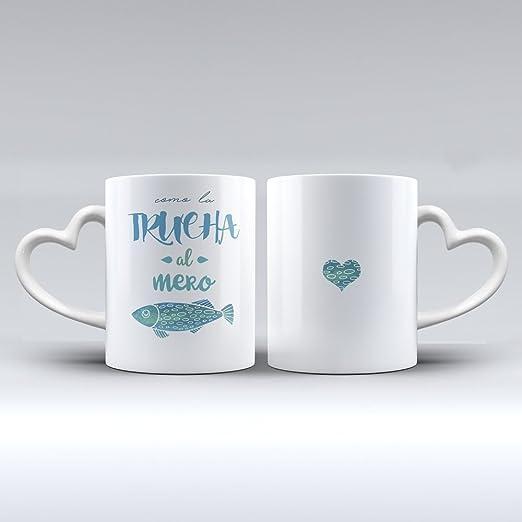 Pack 2 tazas cerámica desayuno regalo original San Valentín pareja ...
