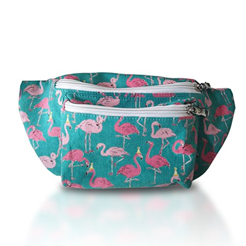 Flamingo Fanny Pack (Pink, Multiple Sizes, 3 Zippers, Canvas)