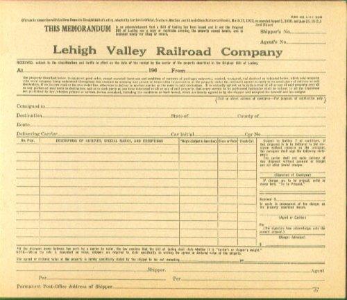Lehigh Valley RR Memorandum Form 1962