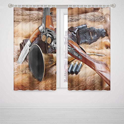 iPrint Curtains Bedroom Blue Hunting Decor Hunting Materials on Fur Rifle Ammunition Cartridge Knife Sheath Decorative High-Precision Blackout CurtainBrown Light Brown Black (83 Cartridge Light)