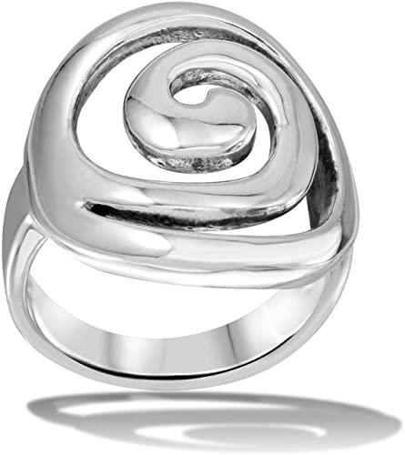Swirly Design High Polished Sterling Silver Ring