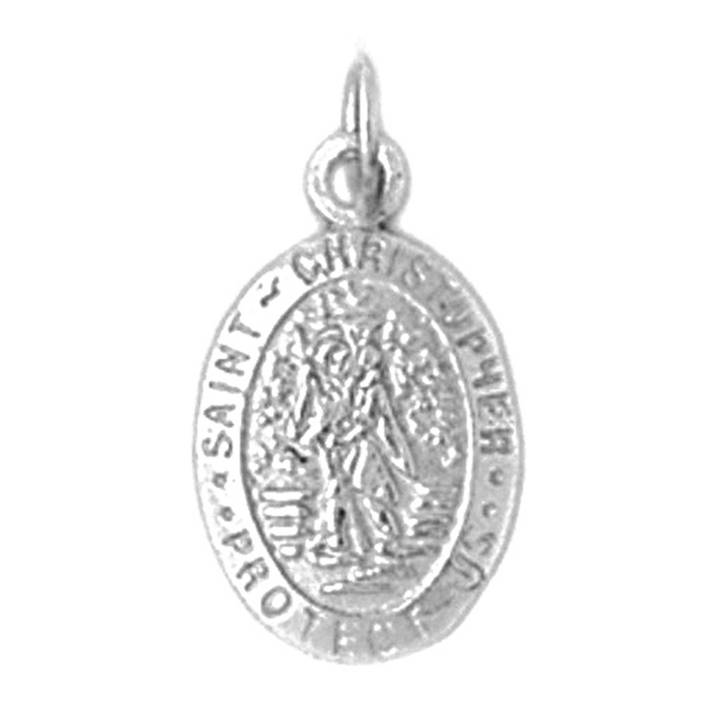 Christopher Necklace Rhodium-plated 925 Silver Saint Christopher Pendant with 30 Necklace Jewels Obsession St