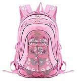 JiaYou Girl Flower Printed Primary Junior High University School Bag Bookbag Backpack(Style A Pink,19 Liters)