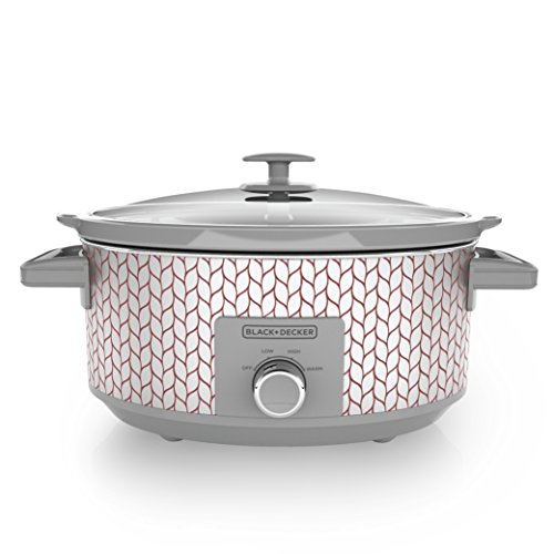 BLACK+DECKER SC3007D 7 Quart Dial Control Slow Cooker with Built in Lid Holder, Purple & Silver Leaf Pattern