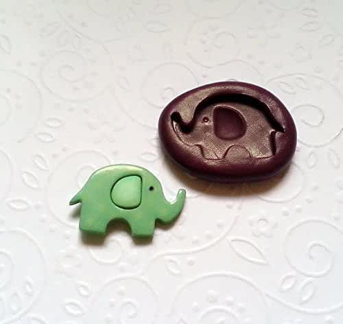 Silicone Mold Cute Elephant Mould (27mm) - Fondant Cupcake Topper Chocolate Clay