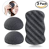 Image of PIXNOR Konjac Sponge All Natural Facial Body Sponges with Activated Bamboo Charcoal - 3 Pack