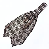 MENDENG Mens White Brown Gold Paisley Floral Silk Cravat Self Tie Ascot Formal