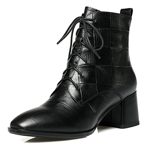 Block Winter Leather Side Toe Ankle Boots Color Fashion Square B Heel Shoes Women Zipper up Genuine Lace wEqpOxTWR