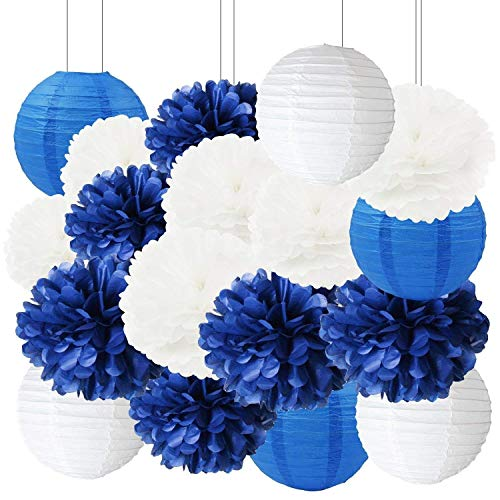 Navy Bridal Shower Decorations Furuix 18pcs White Navy Blue Tissue Paper Pom Pom Paper Lanterns for Nautical Theme Party Decorations Navy Blue Wedding/Birthday Party Decorations Baby Shower Decoration -