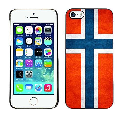 Omega Case PC Polycarbonate Cas Coque Drapeau - Apple iPhone 5 / 5S ( Norway Grunge Flag )