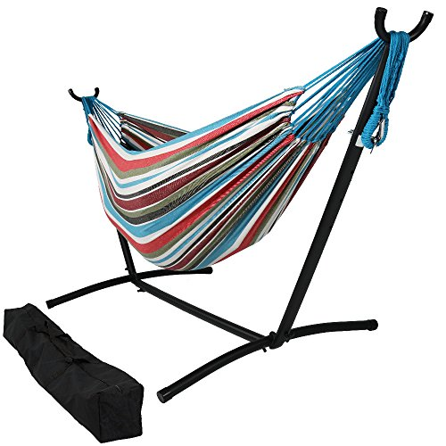 Sunnydaze Brazilian Double Hammock with Stand, 2 Person, ...