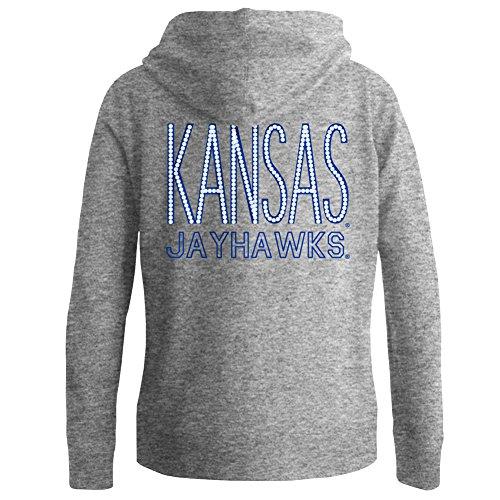 Elite Fan Shop Kansas Jayhawks Women's Full Zip Hooded Sweatshirt Captain Gray - ()