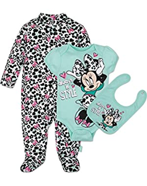 Baby Girls' Minnie Mouse 3 Piece Layette Set